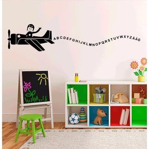 Väggdekor Köket : Flygplan med alfabetet handla väggdekor här hos oss
